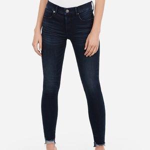 Express Raw Hem Skinny Jeans